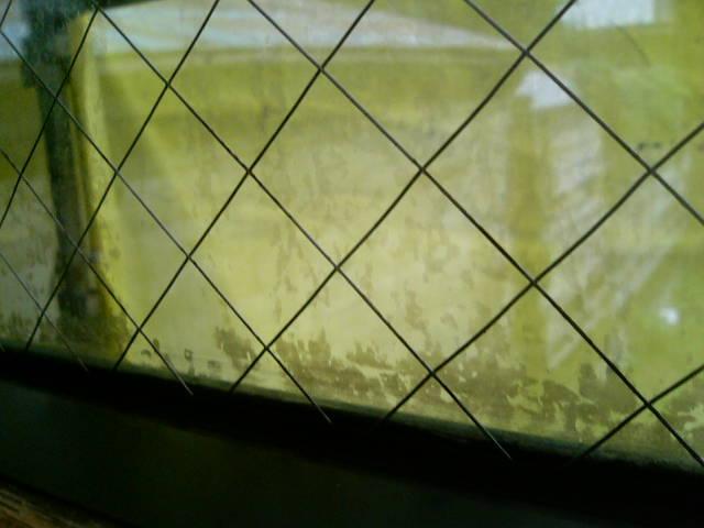 窓のシリコン汚れ
