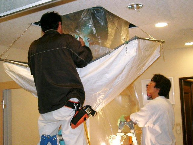天カセエアコンクリーニングの洗浄水受けカバー