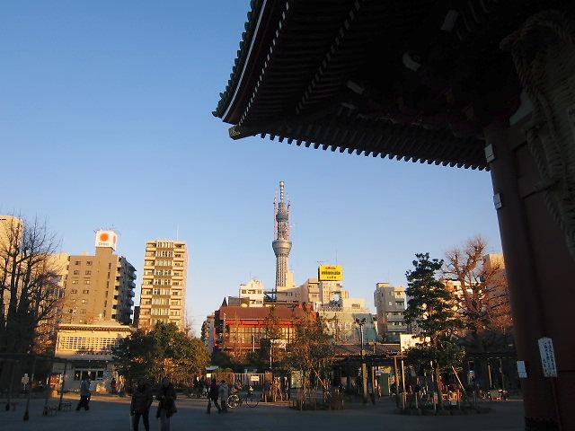 浅草浅草寺から見えるスカイツリー